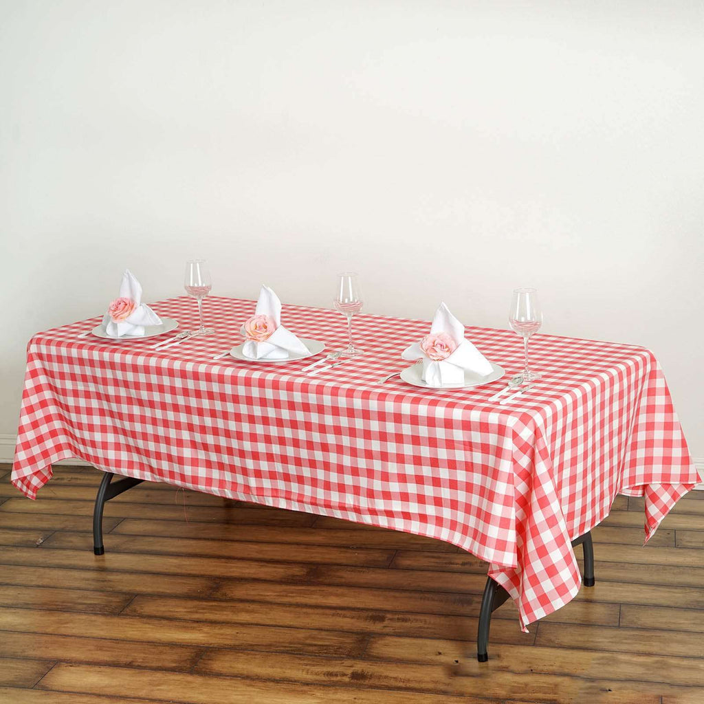 "60x102"" Checkered Polyester Rectangular Linen Home Picnic Tablecloth - White/Coral"