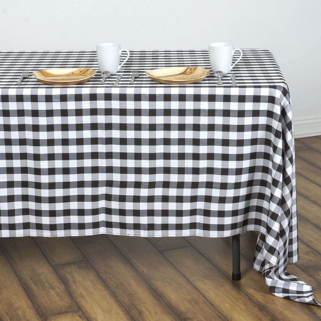 "Perfect Picnic Inspired Black/White Checkered 60x126"" Polyester Tablecloths"