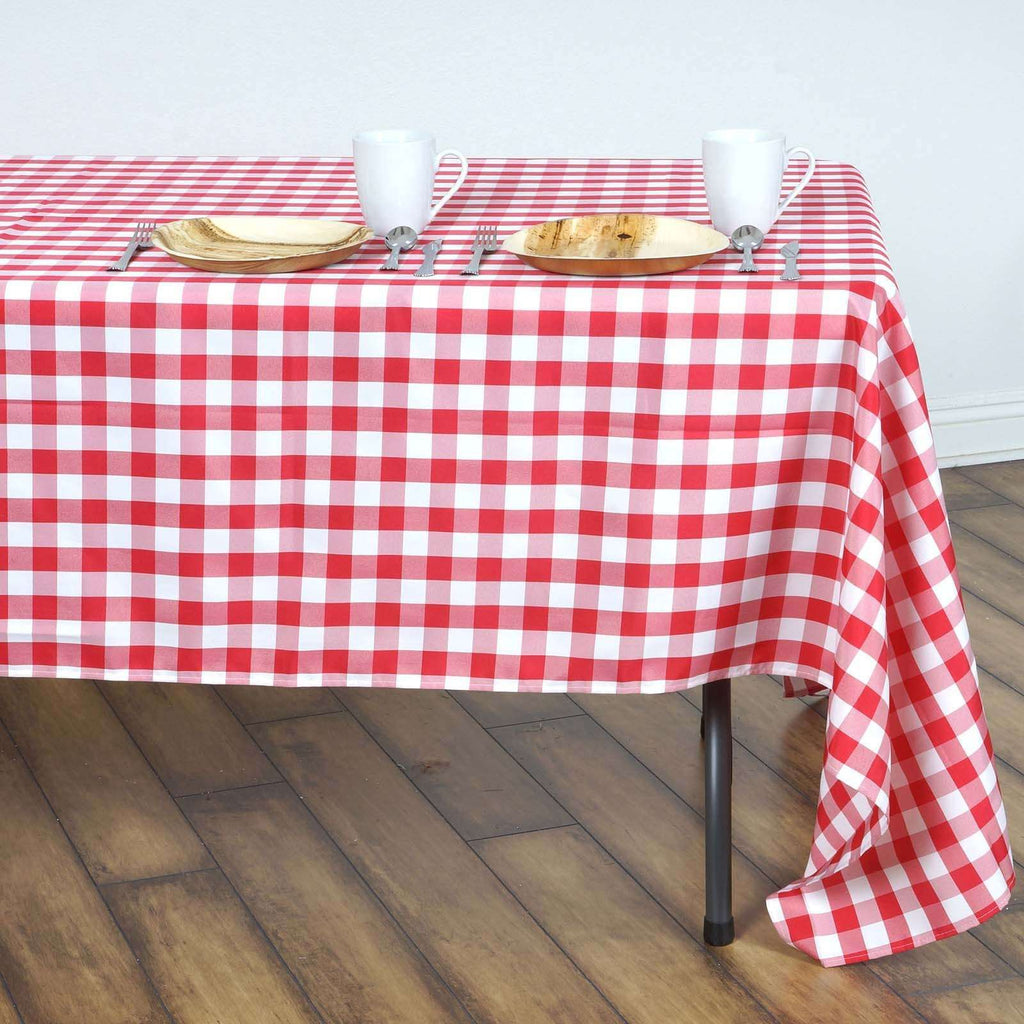 "Perfect Picnic Inspired Red/White Checkered 60x126"" Polyester Tablecloths"