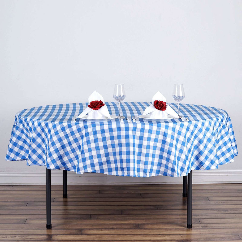 "Perfect Picnic Inspired Blue/White Checkered 70"" Round Polyester Tablecloths"