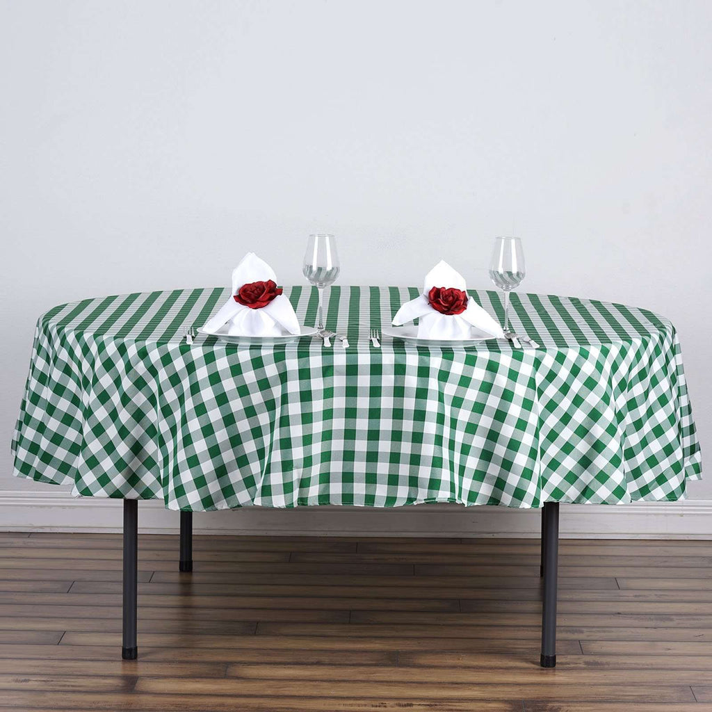 "Perfect Picnic Inspired Green/White Checkered 70"" Round Polyester Tablecloths"