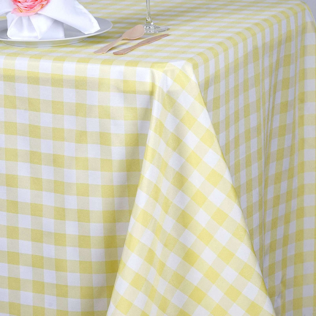 "90x132"" Checkered Polyester Rectangular Linen Home Picnic Tablecloth - White/Yellow"