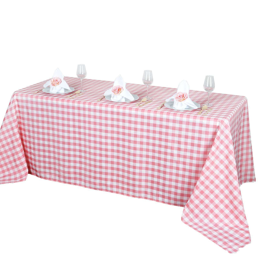 "90""x156"" Checkered Polyester Rectangular Linen Home Picnic Tablecloth - White/Rose Quartz"