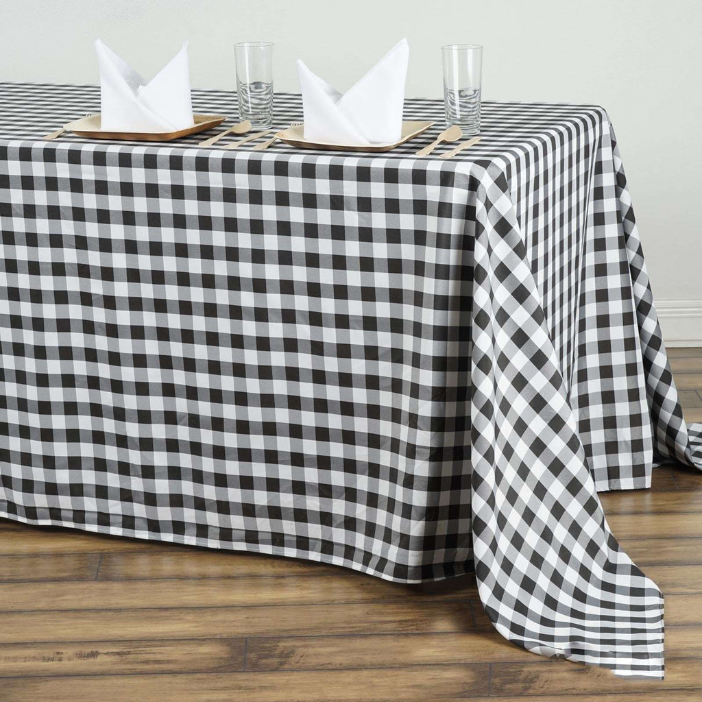 "90""x156"" Checkered Polyester Rectangular Linen Home Picnic Tablecloth - White/Black"
