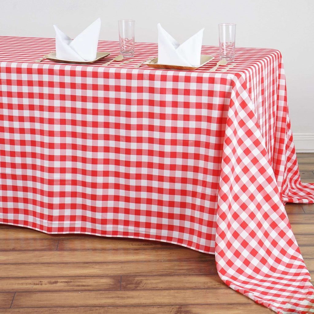 "90""x156"" Checkered Polyester Rectangular Linen Home Picnic Tablecloth - White/Red"