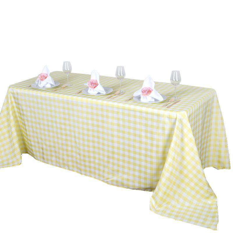 "90""x156"" Checkered Polyester Rectangular Linen Home Picnic Tablecloth - White/Yellow"