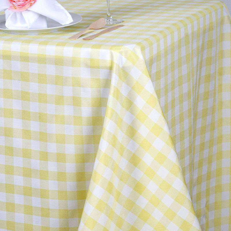 "90x156"" White/Yellow Perfect Picnic Inspired Checkered Polyester Tablecloths"
