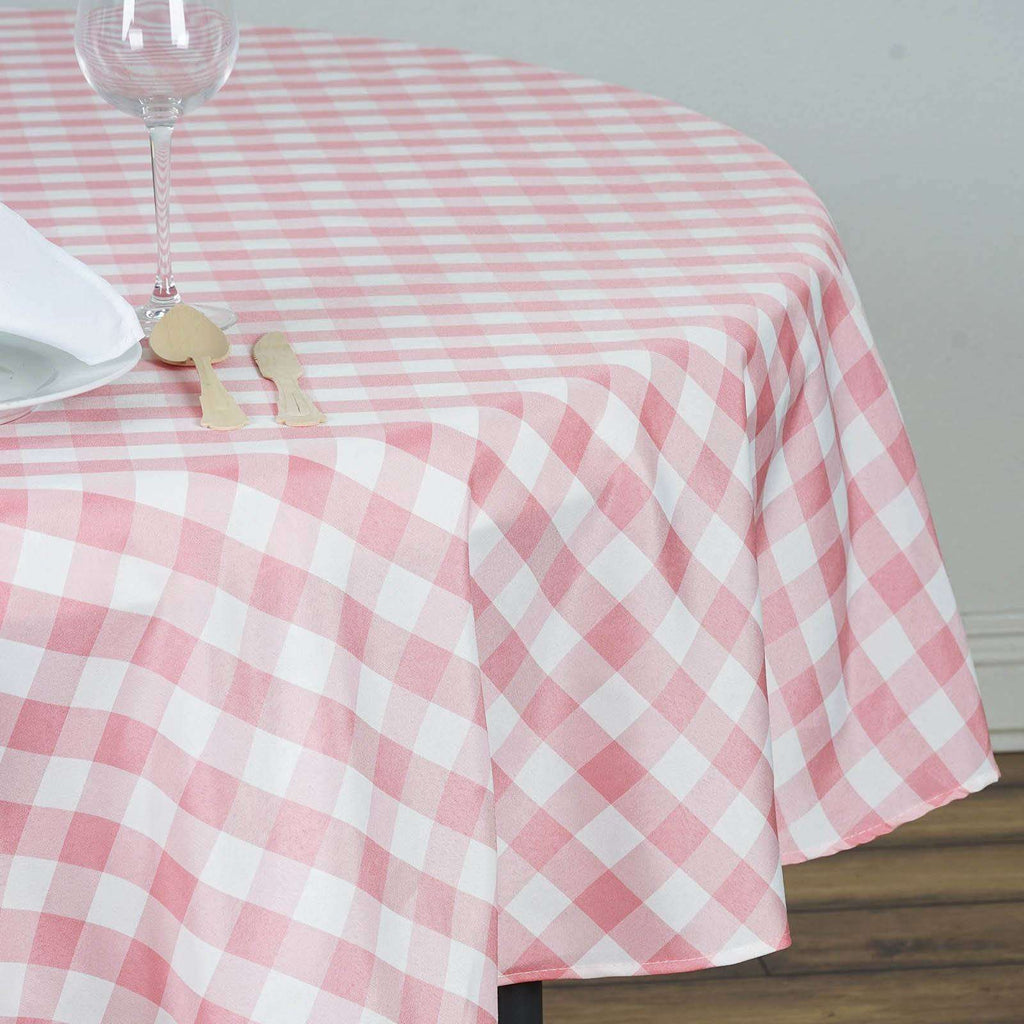 "90"" White/Rose Quartz Perfect Picnic Inspired Checkered Round Polyester Tablecloths"