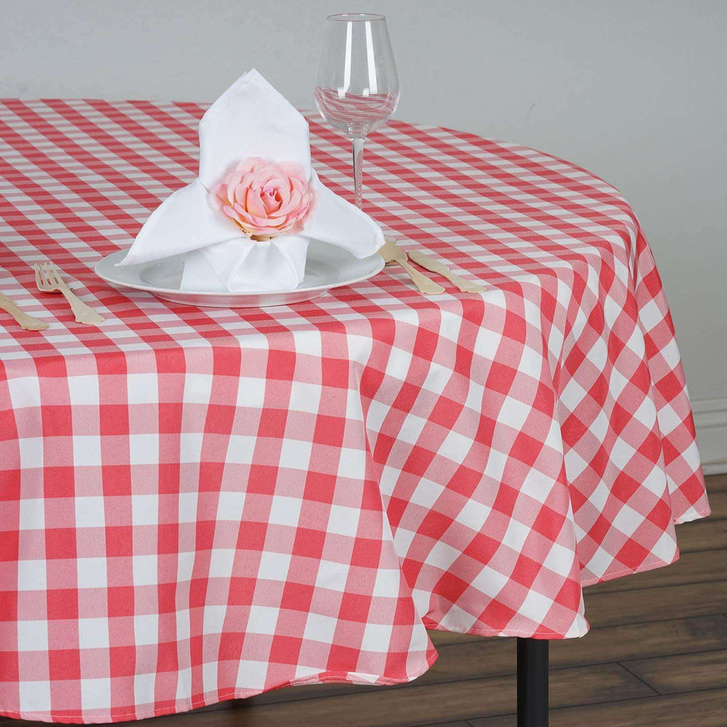 "90"" White/Coral Perfect Picnic Inspired Checkered Round Polyester Tablecloths"
