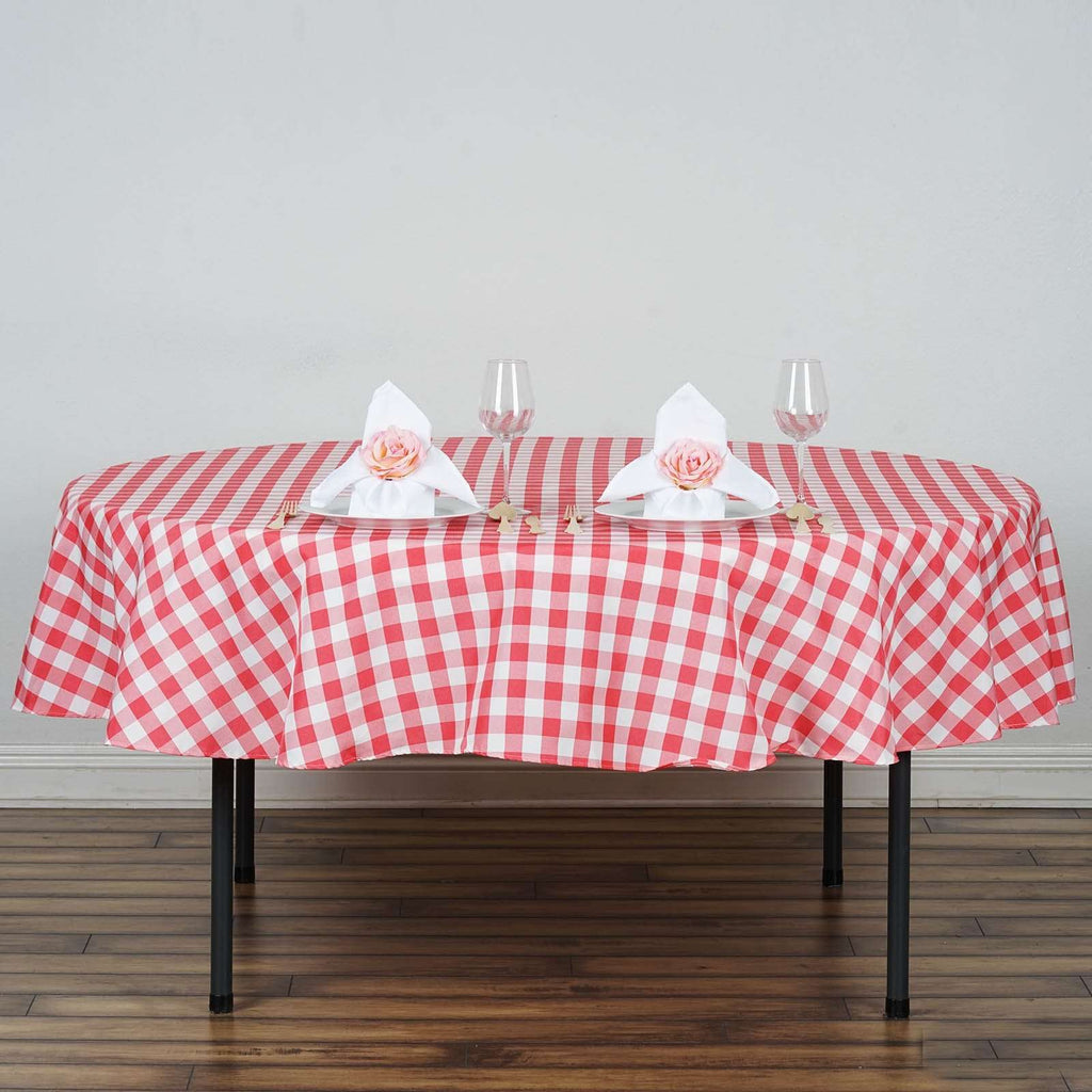 "Perfect Picnic Inspired Coral/White Checkered 90"" Round Polyester Tablecloths"