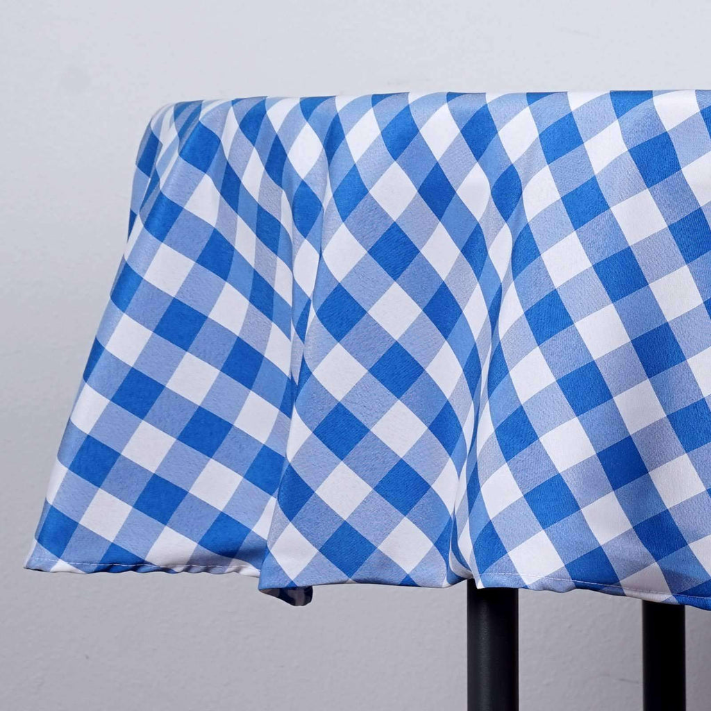 "Perfect Picnic Inspired Blue/White Checkered 90"" Round Polyester Tablecloths"