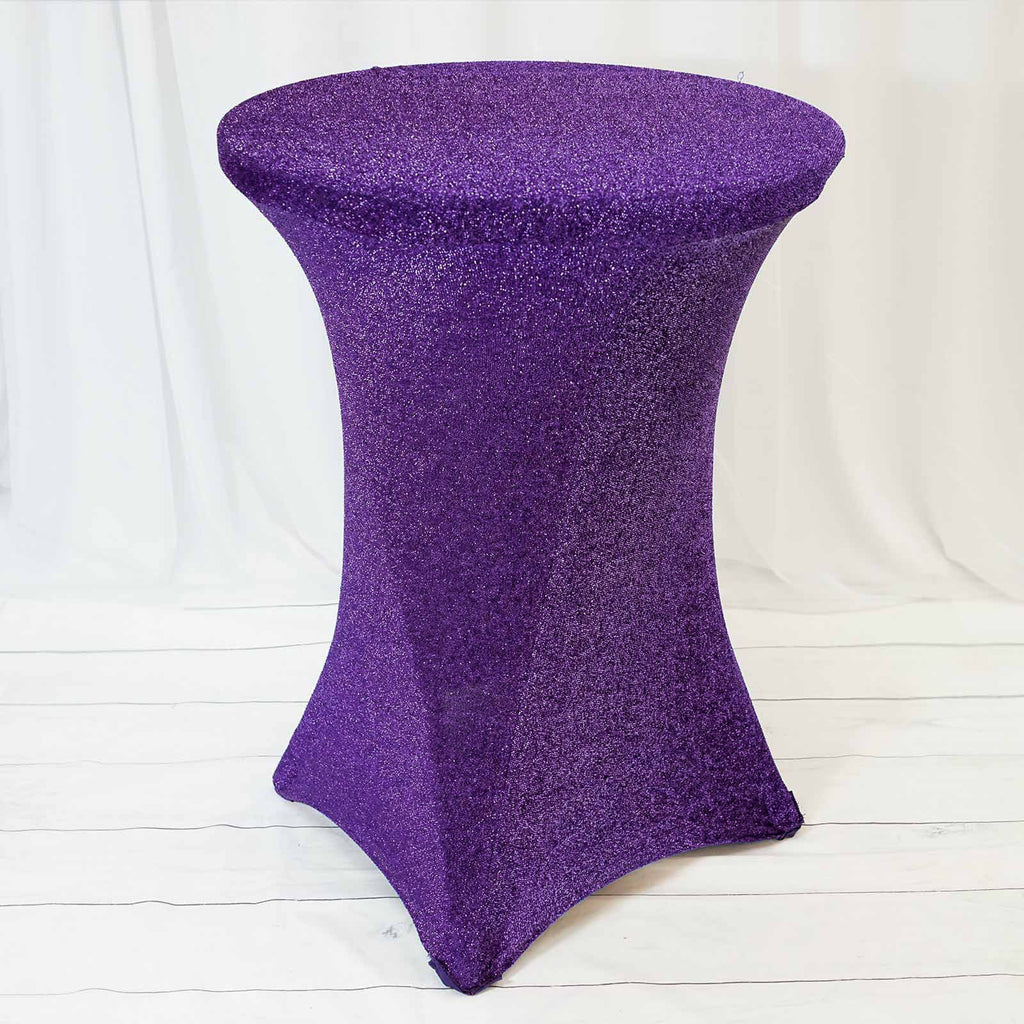 Purple Metallic Shiny Glittered Spandex Cocktail Table Cover