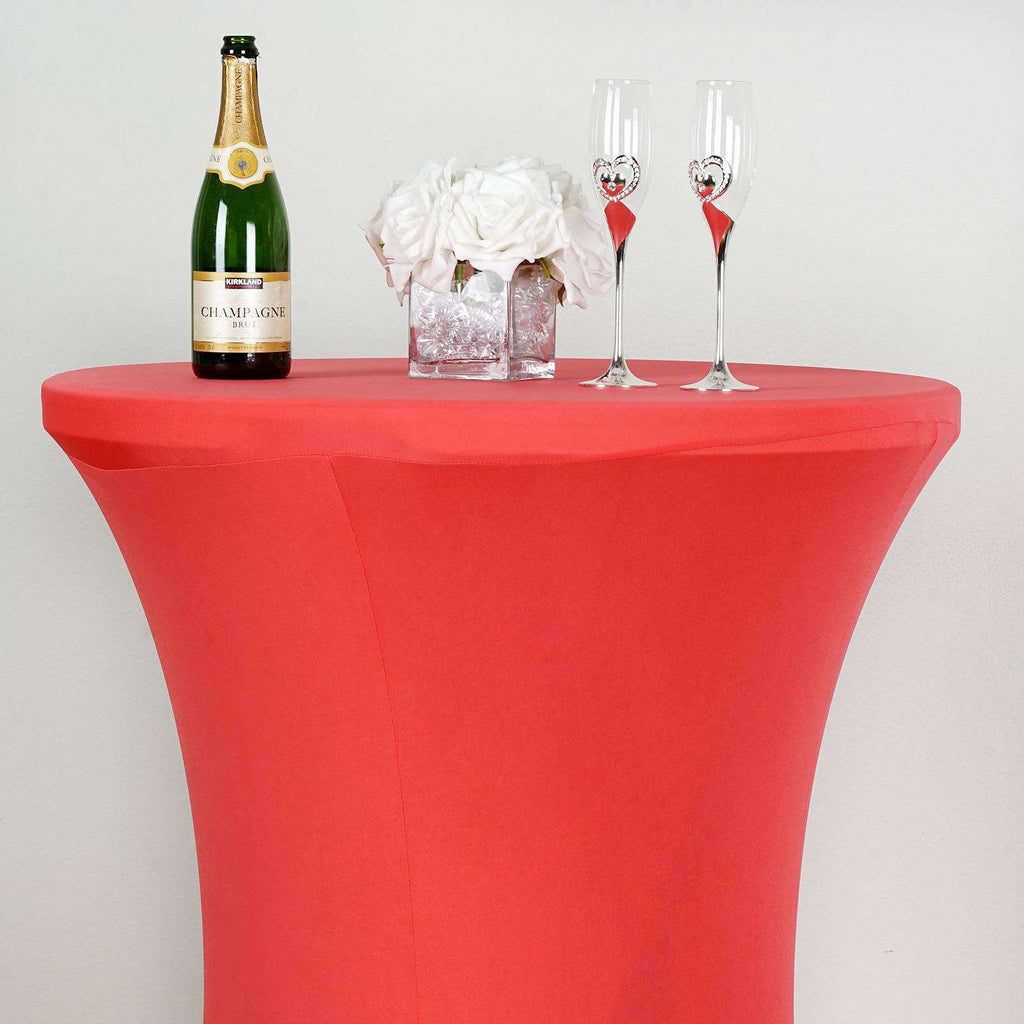Cocktail Spandex Table Cover - Coral