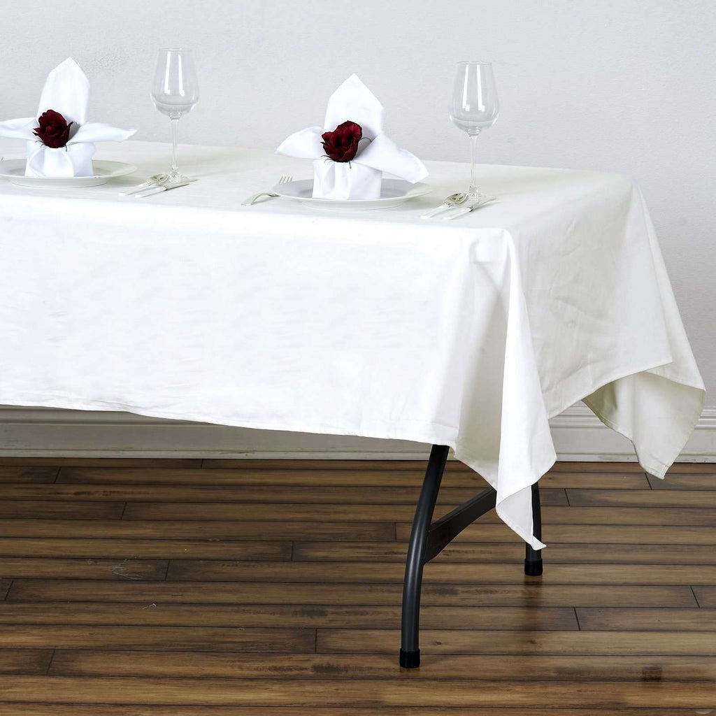 "60x102"" Rectangle Chambury Casa 100% Cotton Tablecloth For Wedding Party Decoration - Ivory"