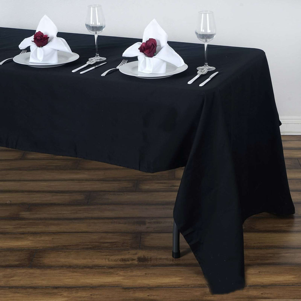 "60x126"" Rectangle Chambury Casa 100% Cotton Tablecloth For Wedding Party Decoration - Black"