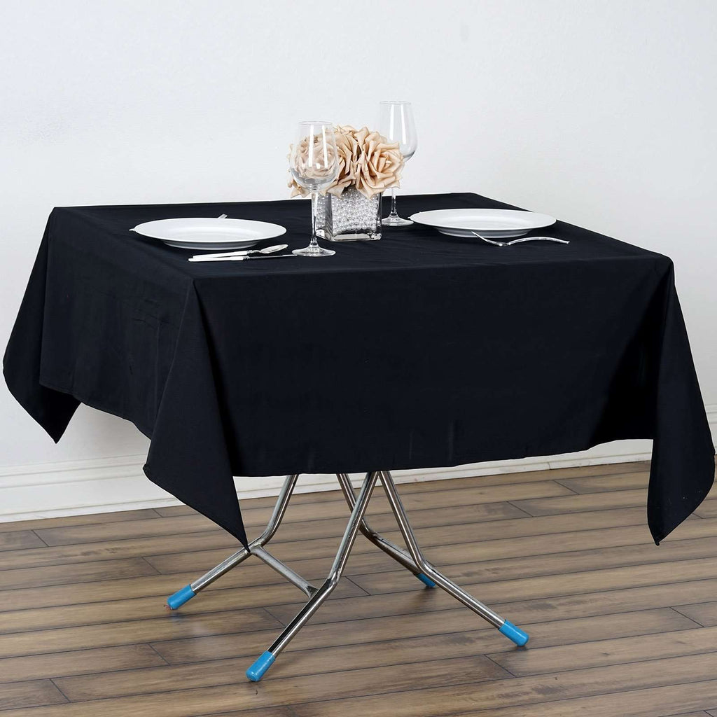 "60"" Square Chambury Casa 100% Cotton Tablecloth Overlay For Wedding Party Decoration - Black"