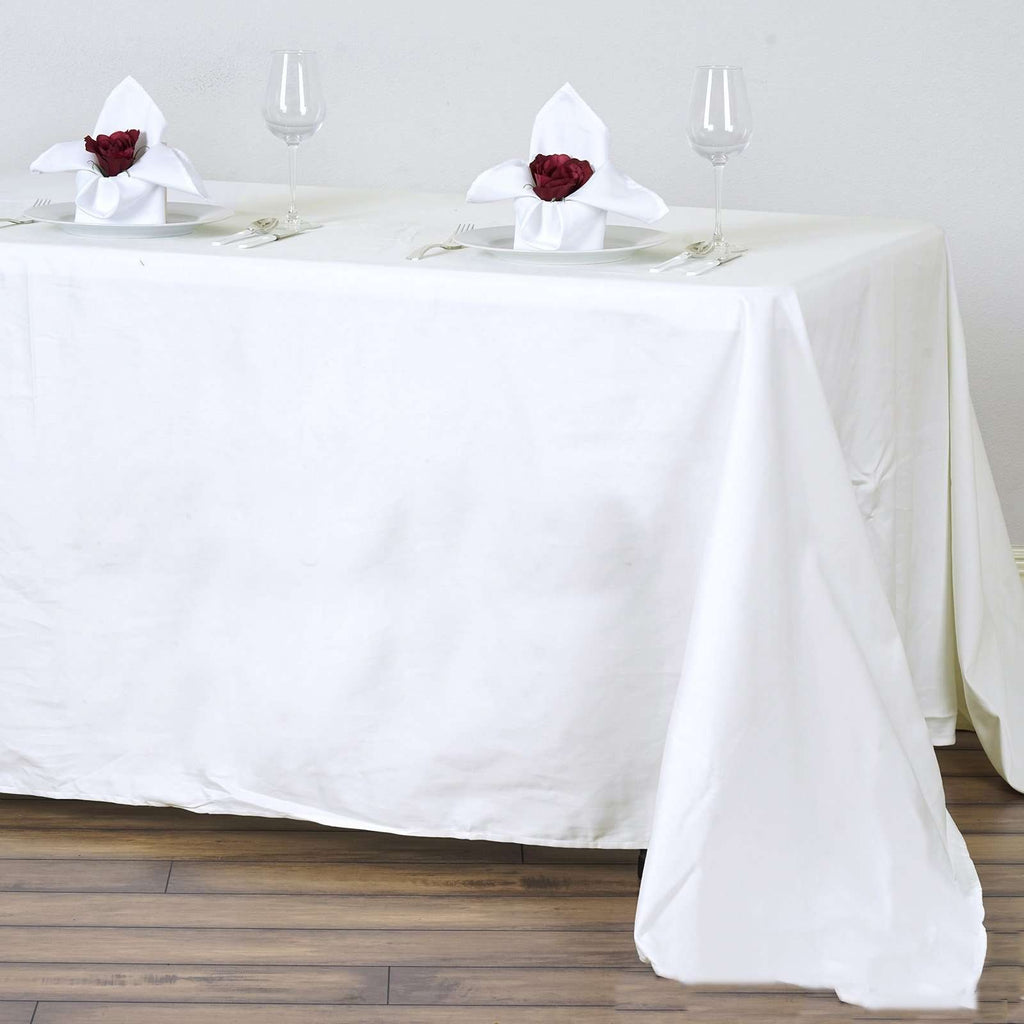 "90x132"" Rectangle Chambury Casa 100% Cotton Tablecloth For Wedding Party Decoration - Ivory"