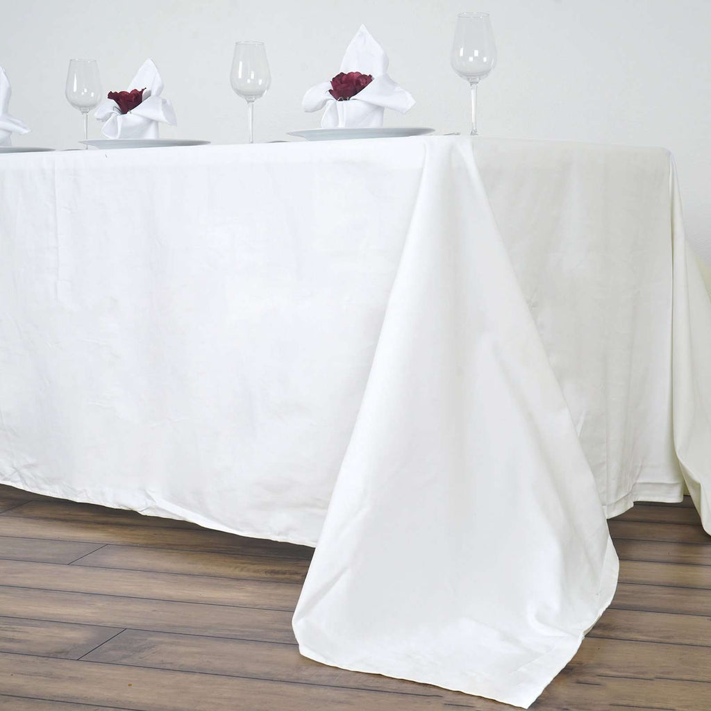"90x156"" Rectangle Chambury Casa 100% Cotton Tablecloth For Wedding Party Decoration - Ivory"