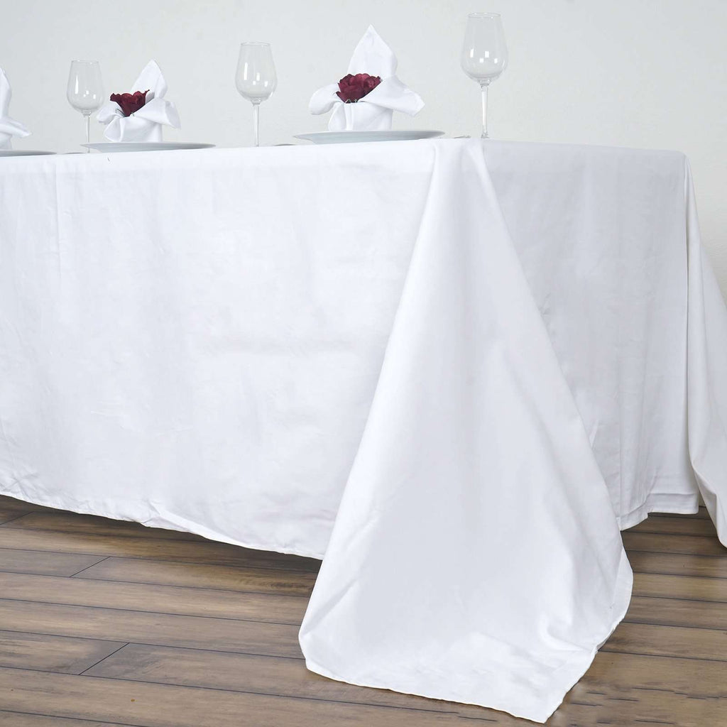 "90x156"" Rectangle Chambury Casa 100% Cotton Tablecloth For Wedding Party Decoration - White"