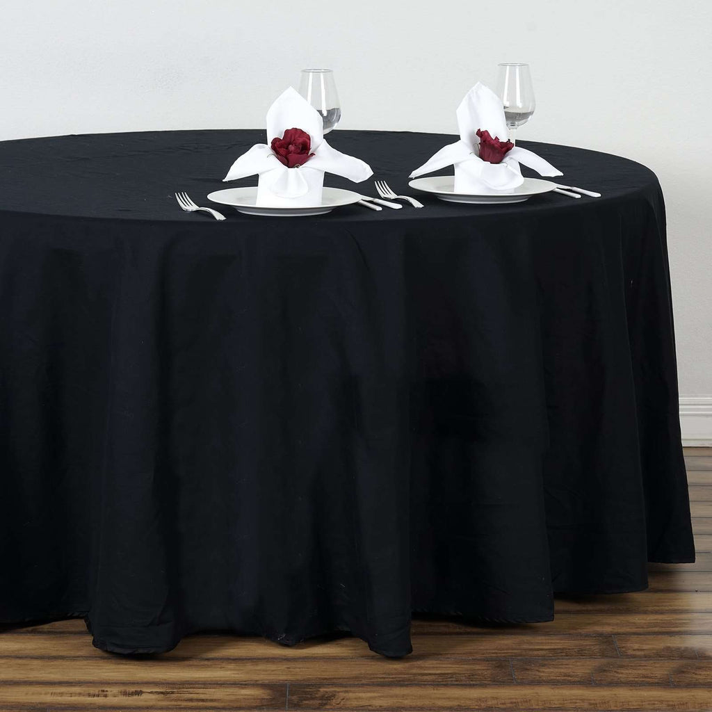 "108"" Round Chambury Casa 100% Cotton Tablecloth For Wedding Party Decoration - Black"