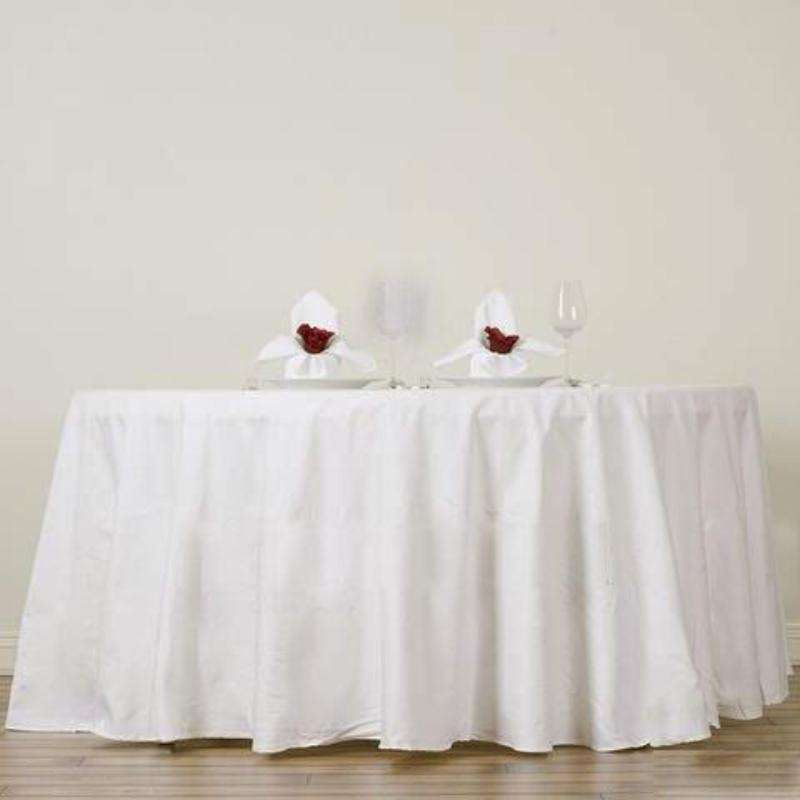 "108"" Round Chambury Casa 100% Cotton Tablecloth For Wedding Party Decoration - Ivory"