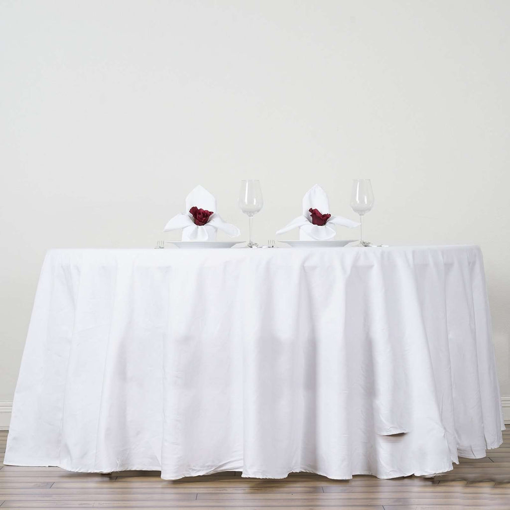 "108"" Round Chambury Casa 100% Cotton Tablecloth For Wedding Party Decoration - White"