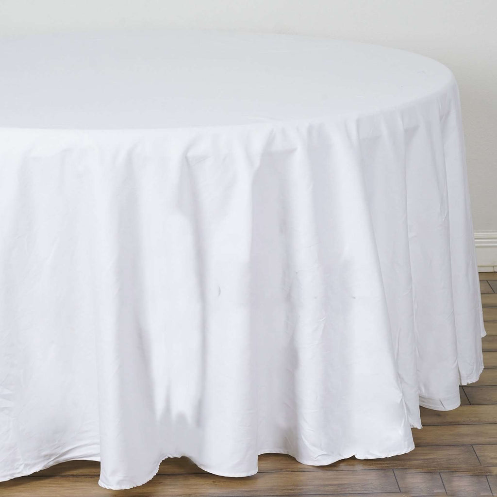 "120"" Round Chambury Casa 100% Cotton Tablecloth For Wedding Party Decoration - White"
