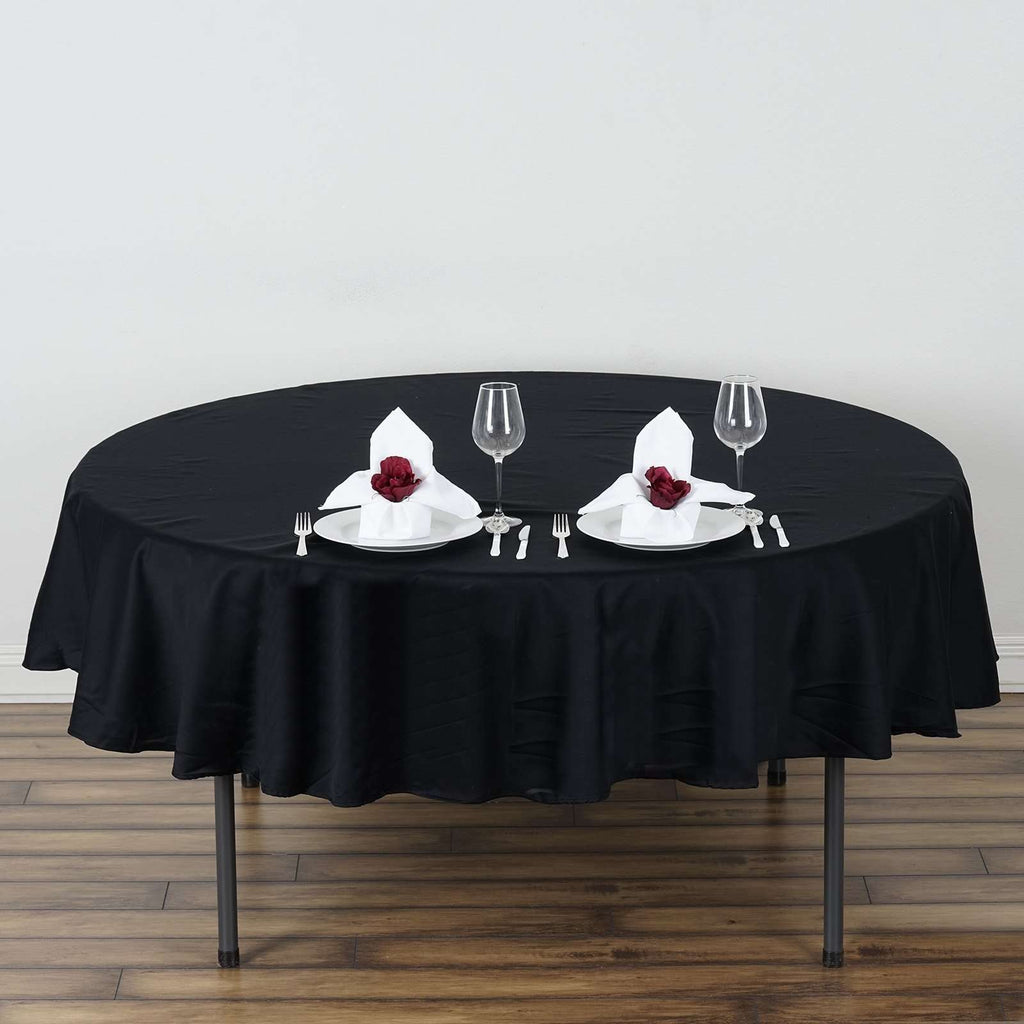 "70"" Round Chambury Casa 100% Cotton Tablecloth For Wedding Party Decoration - Black"