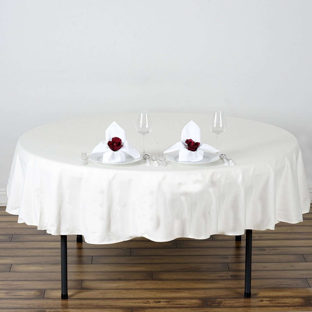 "70"" Round Chambury Casa 100% Cotton Tablecloth For Wedding Party Decoration - Ivory"