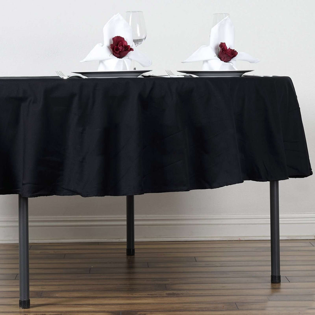 "90"" Round Chambury Casa 100% Cotton Tablecloth For Wedding Party Decoration - Black"