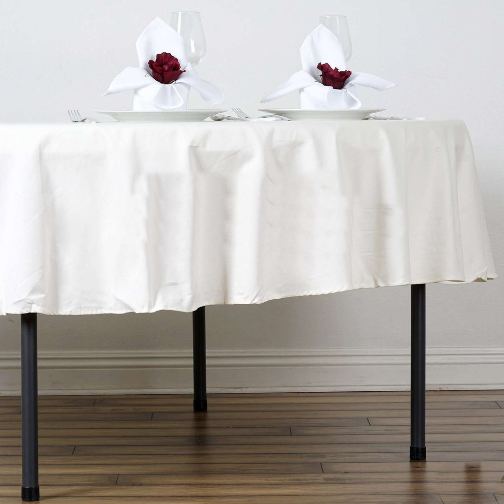 "90"" Round Chambury Casa 100% Cotton Tablecloth For Wedding Party Decoration - Ivory"