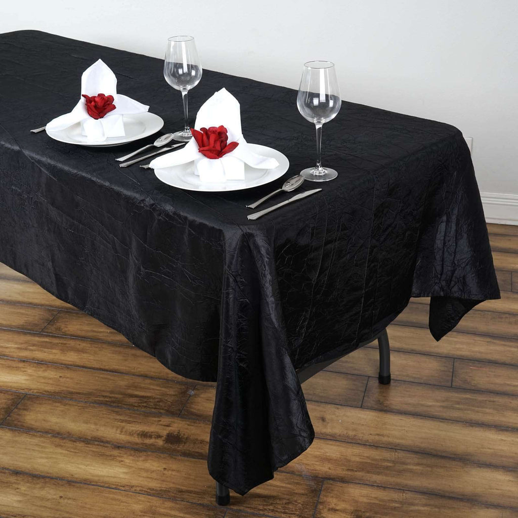 "60x102"" Black Crinkle Taffeta Tablecloth For Catering Wedding Party Decorations"