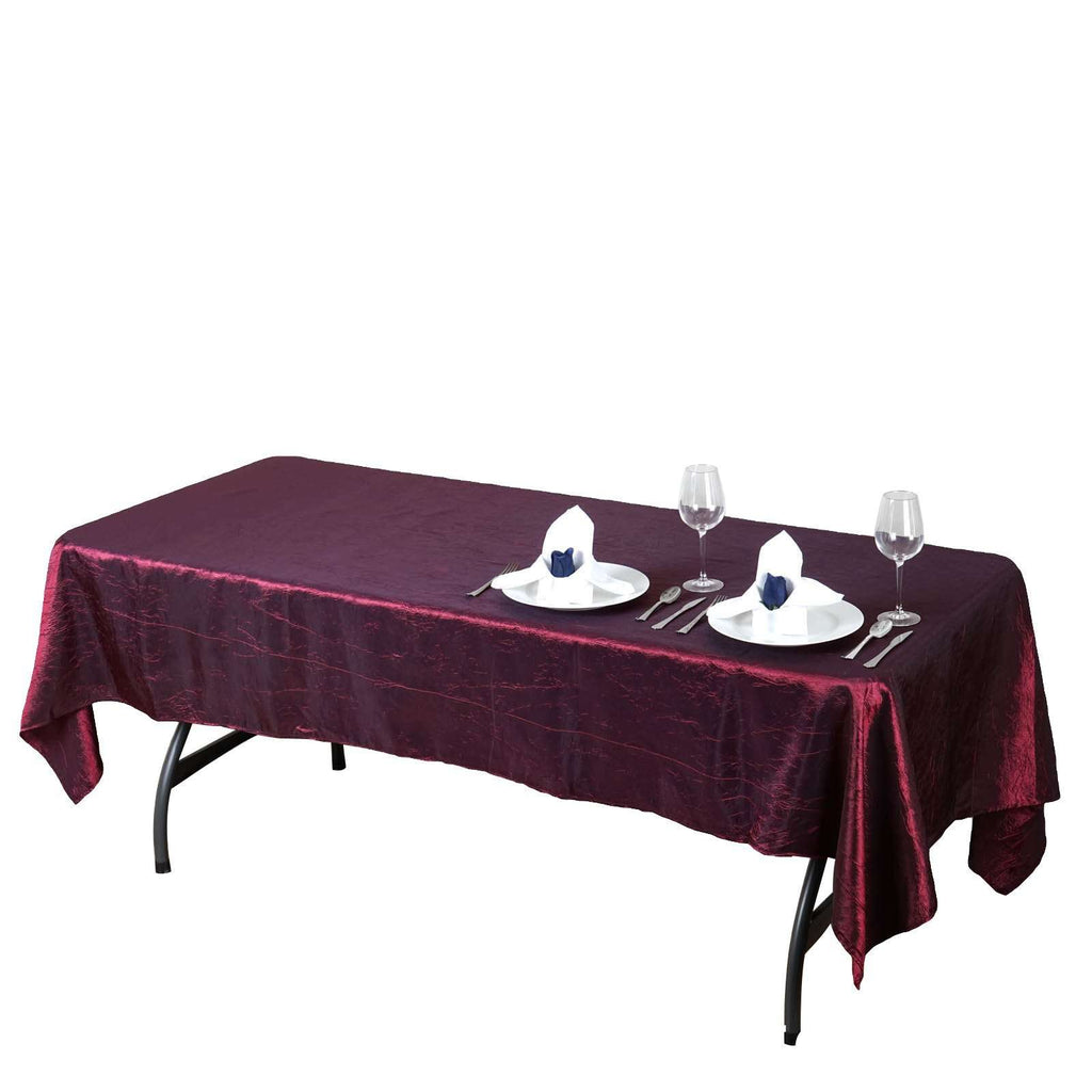 "60x102"" Burgundy Crinkle Taffeta Tablecloth For Catering Wedding Party Decorations"