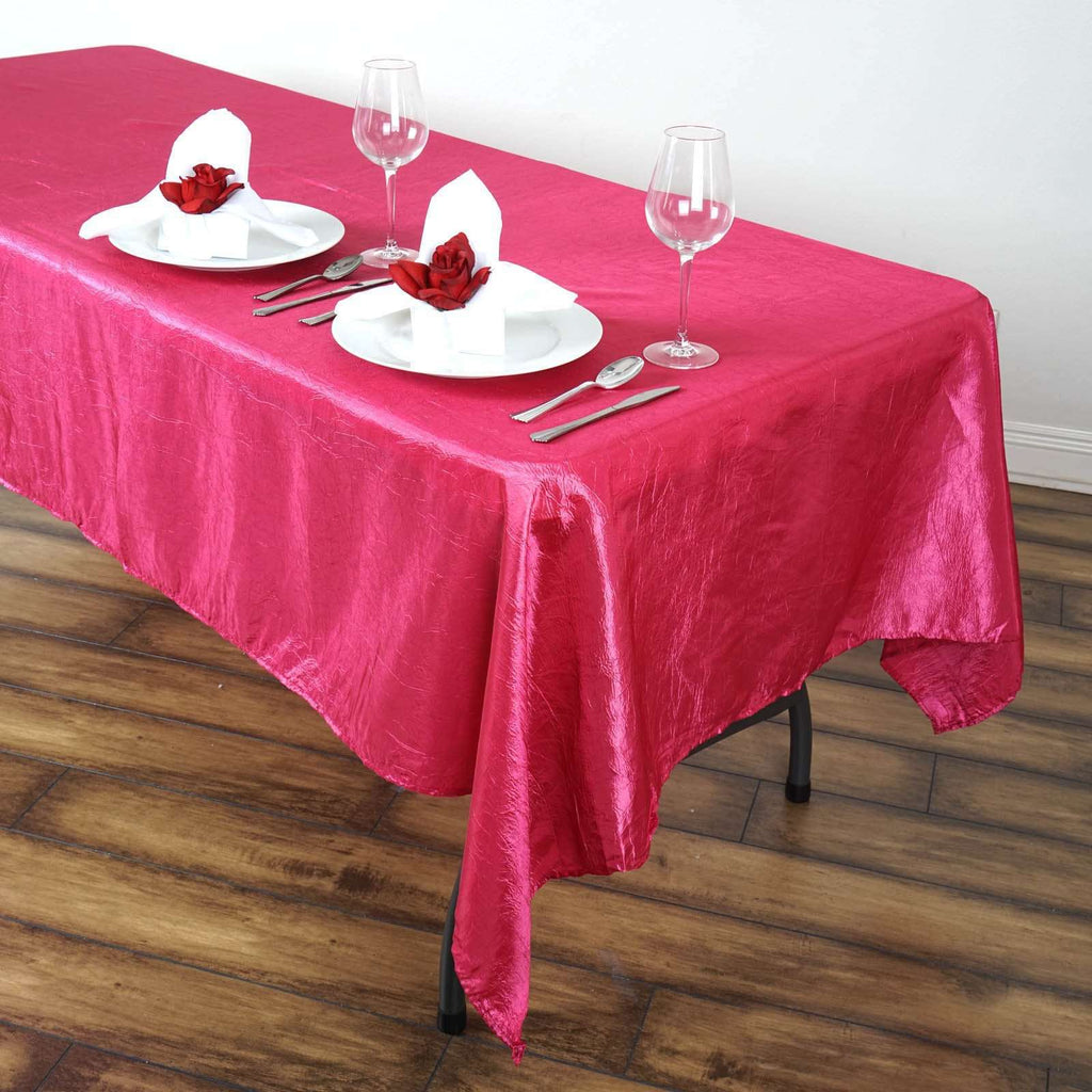 "60x102"" Fushia Crinkle Taffeta Tablecloth For Catering Wedding Party Decorations"