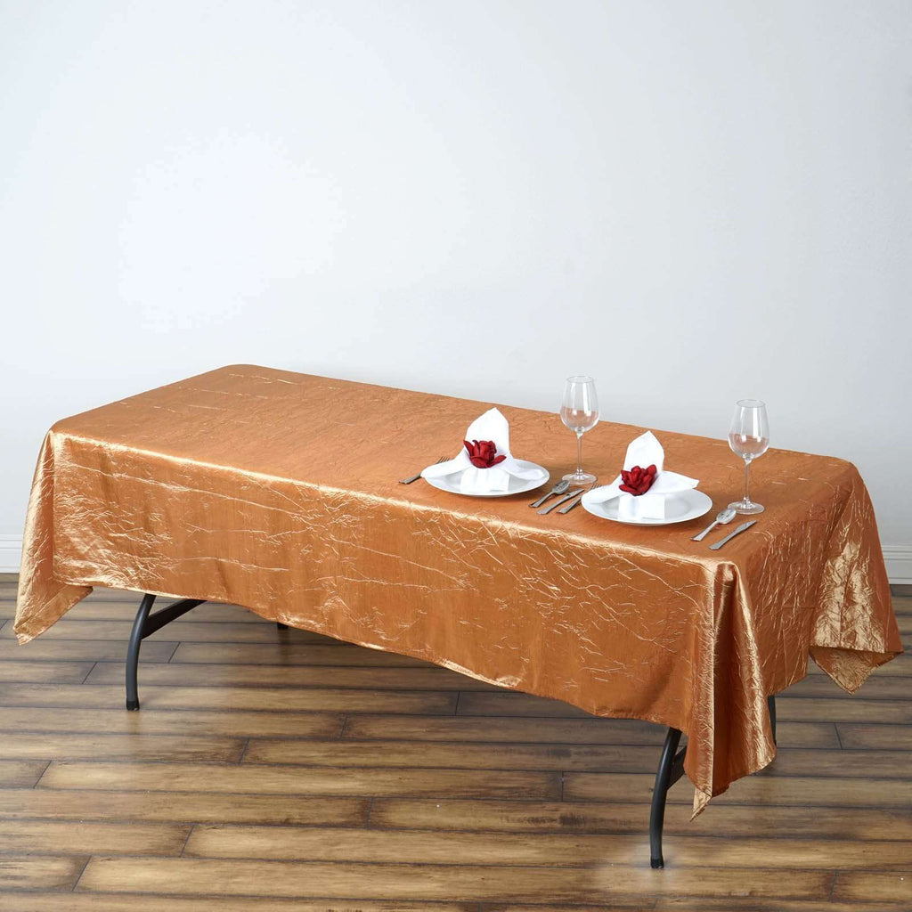 "60x102"" Gold Crinkle Taffeta Tablecloth For Catering Wedding Party Decorations"