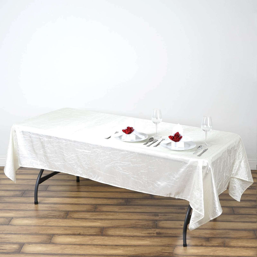 "60x102"" Ivory Crinkle Taffeta Tablecloth For Catering Wedding Party Decorations"