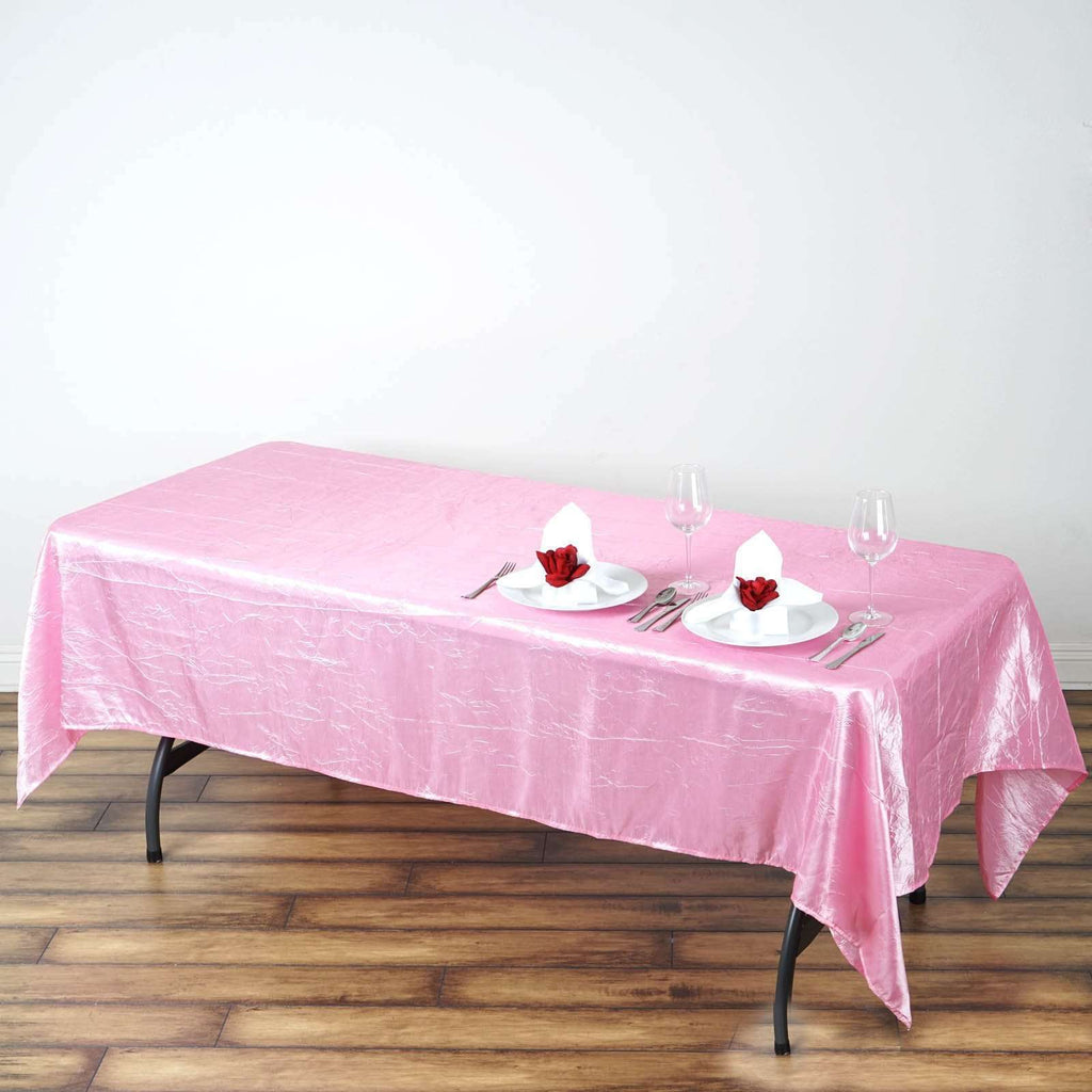 "60x102"" Pink Crinkle Taffeta Tablecloth For Catering Wedding Party Decorations"