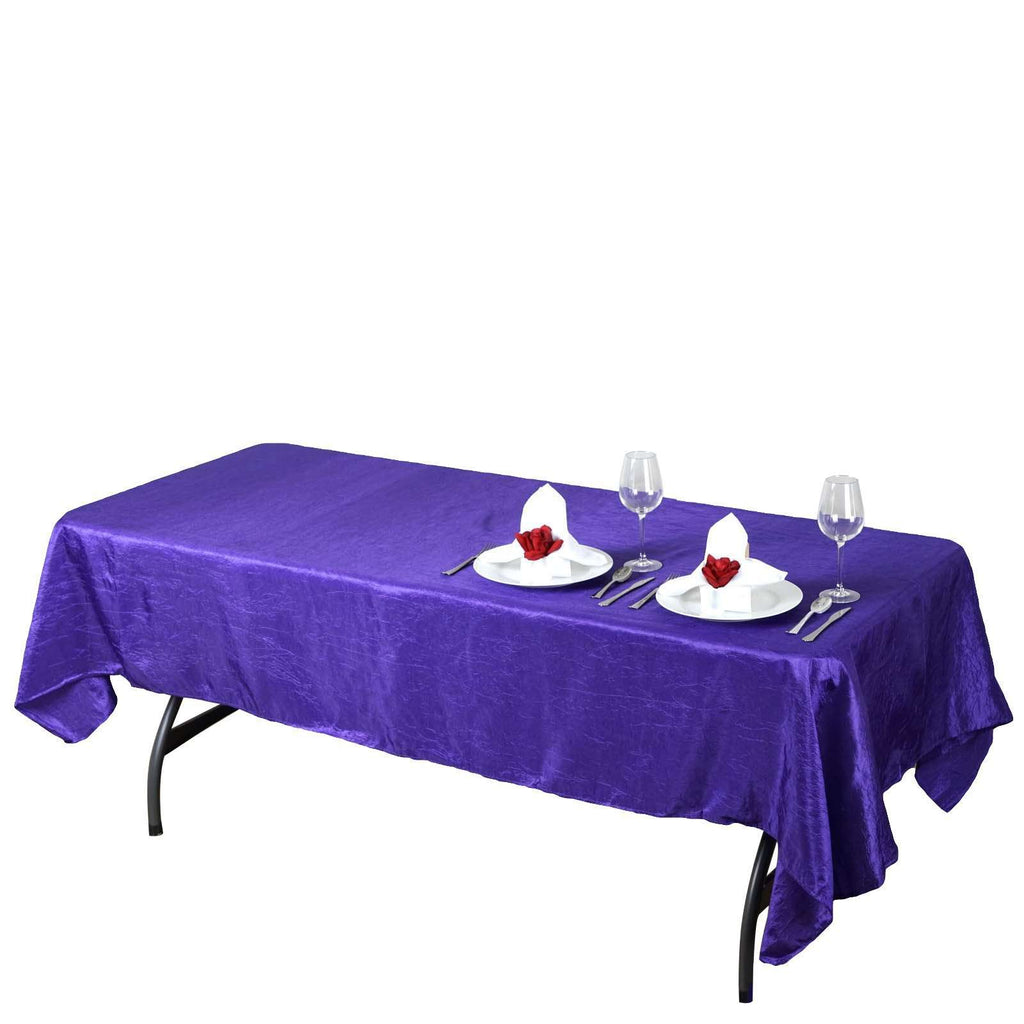 "60x102"" Purple Crinkle Taffeta Tablecloth For Catering Wedding Party Decorations"