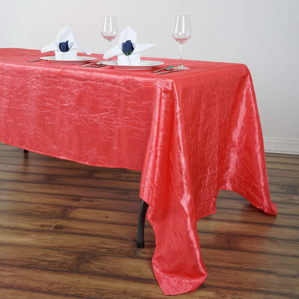 "60x126"" Coral Crinkle Taffeta Tablecloth For Catering Wedding Party Decorations"