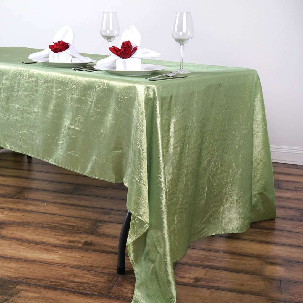 "60x126"" Apple Green Crinkle Taffeta Tablecloth For Catering Wedding Party Decorations"