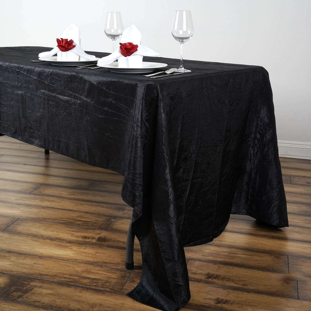 "60x126"" Black Crinkle Taffeta Tablecloth For Catering Wedding Party Decorations"