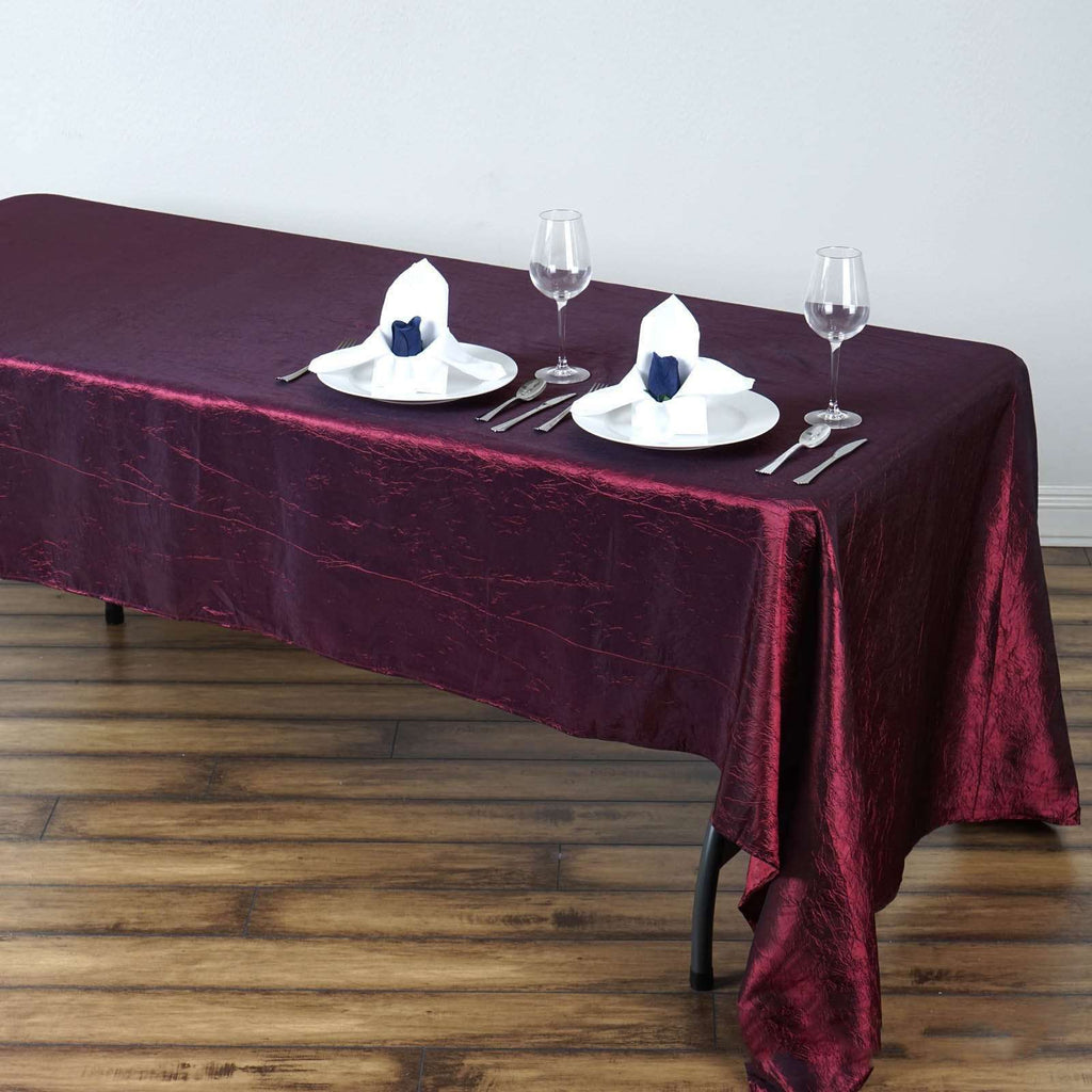 "60x126"" Burgundy Crinkle Taffeta Tablecloth For Catering Wedding Party Decorations"