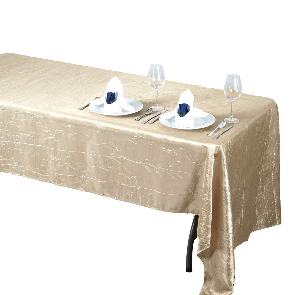 "60x126"" Champagne Crinkle Taffeta Tablecloth For Catering Wedding Party Decorations"