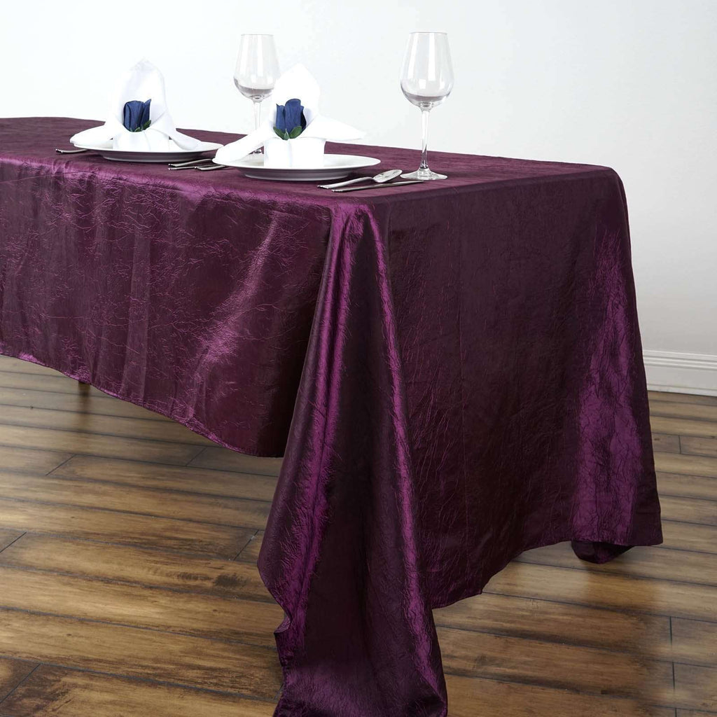 "60x126"" Eggplant Crinkle Taffeta Tablecloth For Catering Wedding Party Decorations"