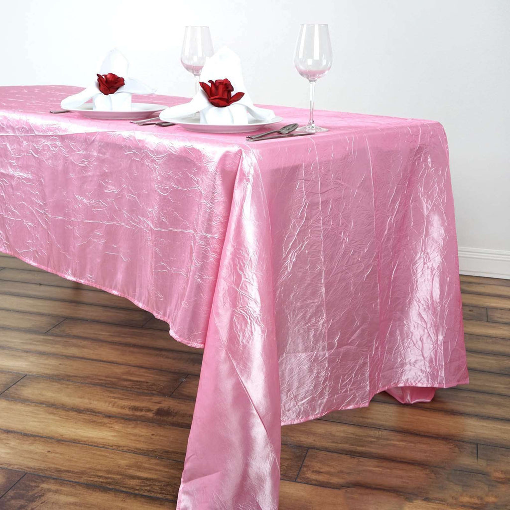 "60x126"" Pink Crinkle Taffeta Tablecloth For Catering Wedding Party Decorations"