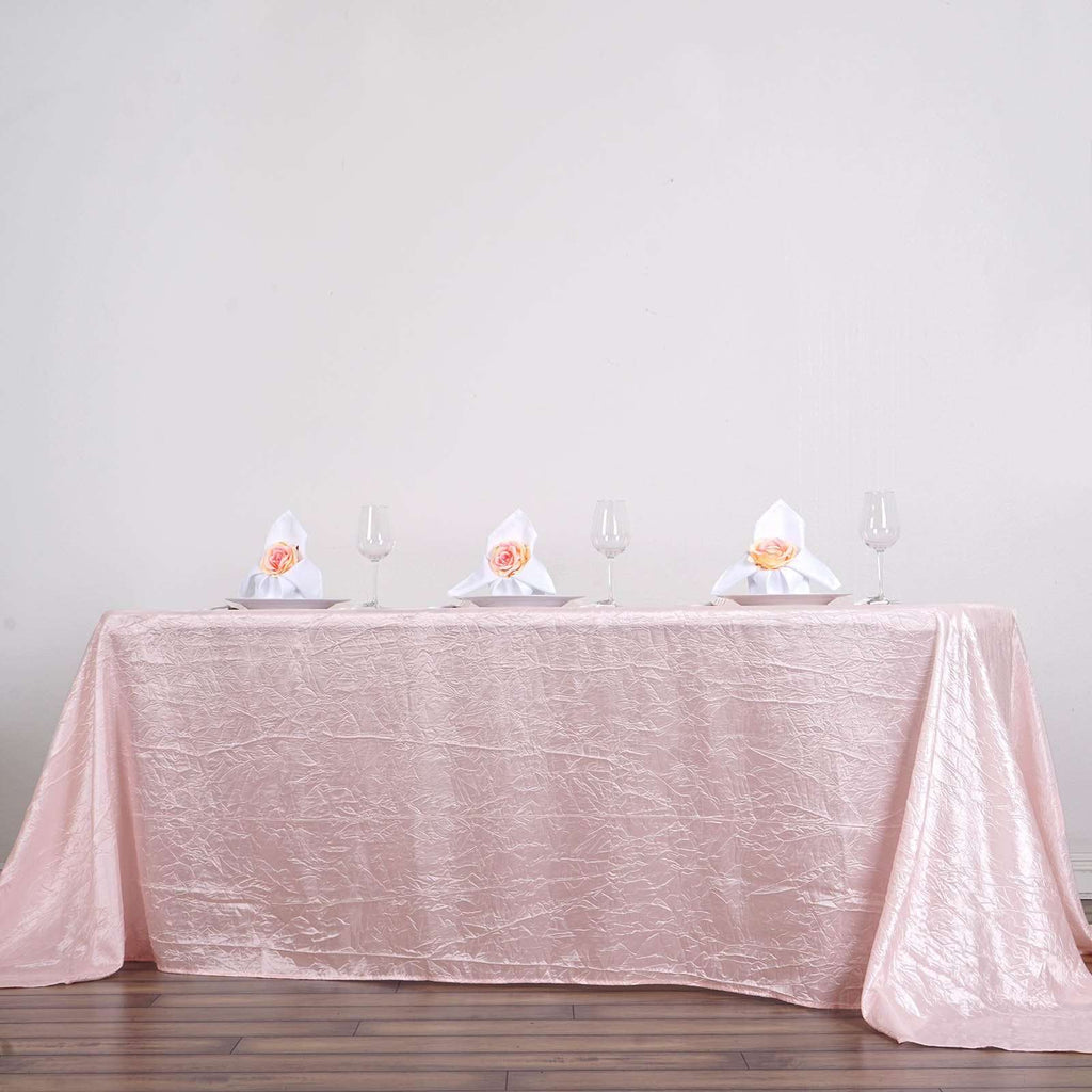 "90x132"" Blush Crinkle Taffeta Tablecloth For Catering Wedding Party Decorations"