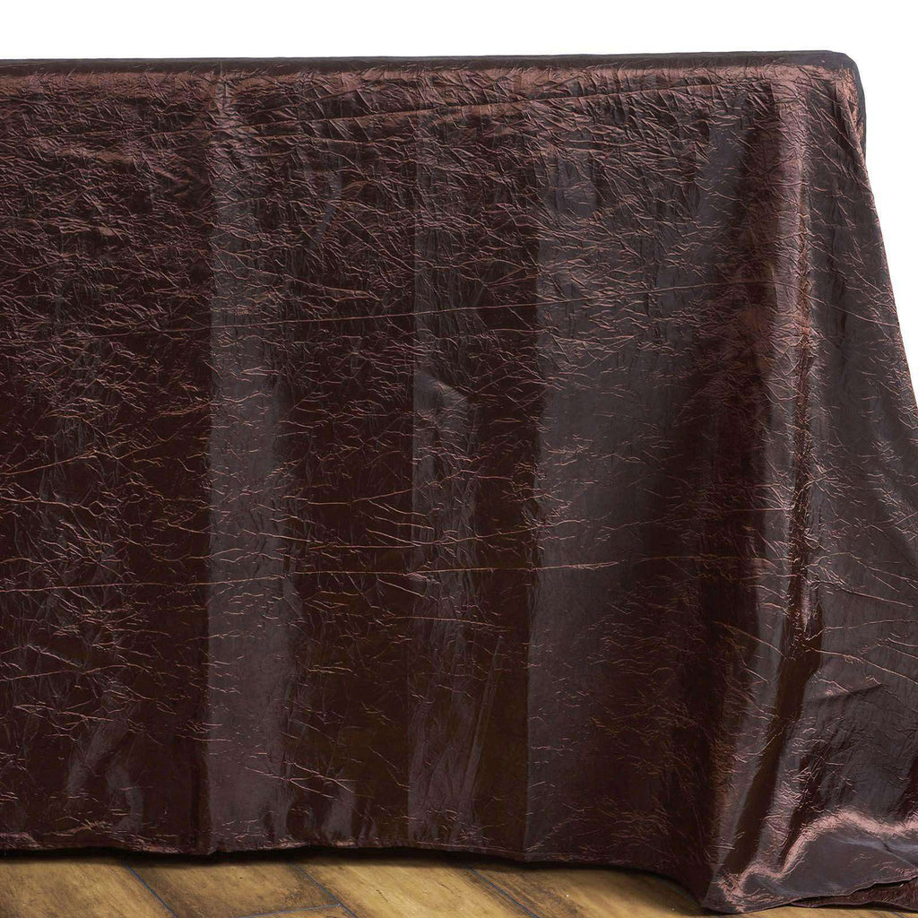"90x132"" Chocolate Crinkle Taffeta Rectangular Tablecloth"