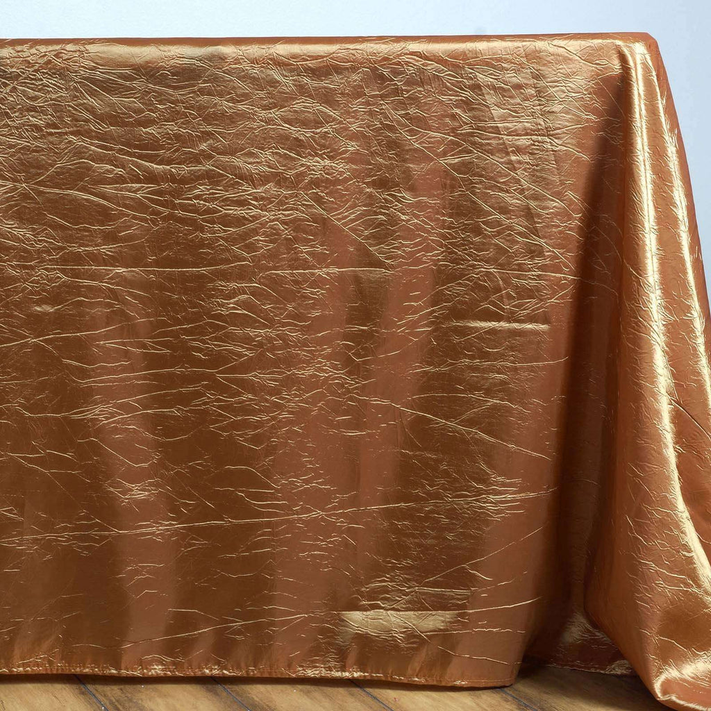 Gold Crinkle Taffeta Tablecloth 90x132""