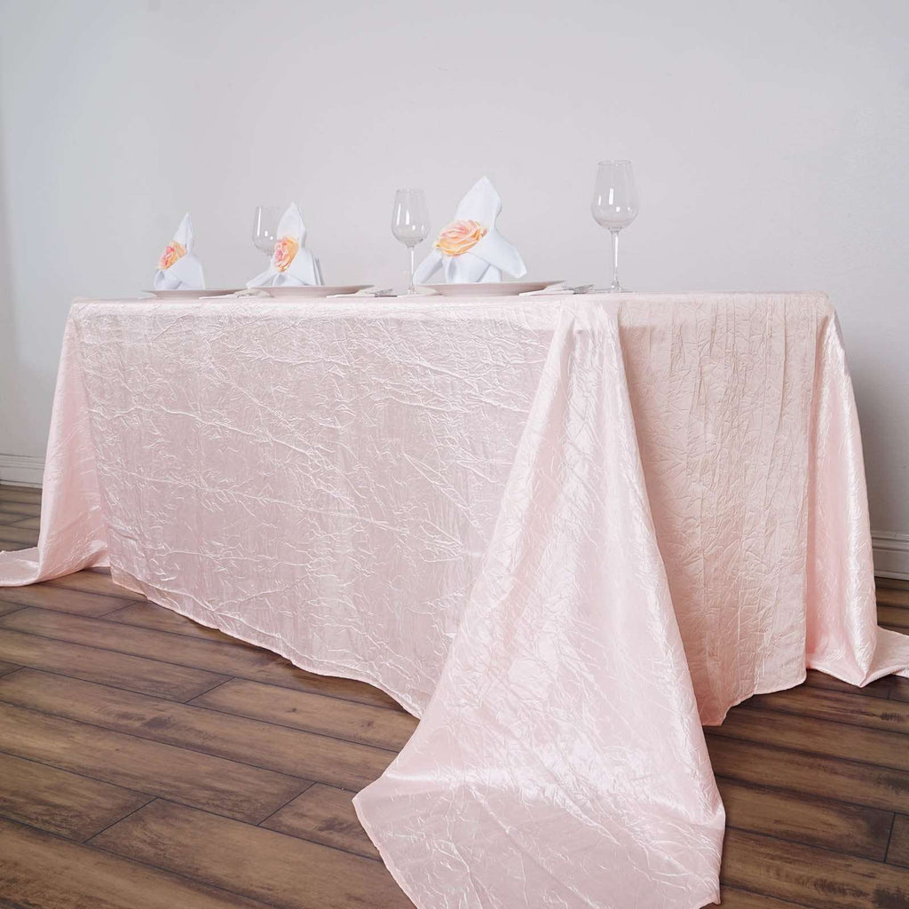 "90x156"" Blush Crinkle Taffeta Tablecloth For Catering Wedding Party Decoration"