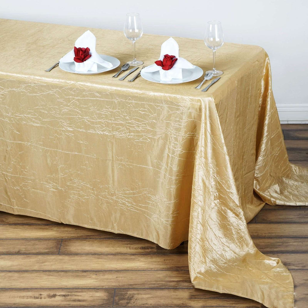 "90x156"" Champagne Crinkle Taffeta Tablecloth For Catering Wedding Party Decoration"